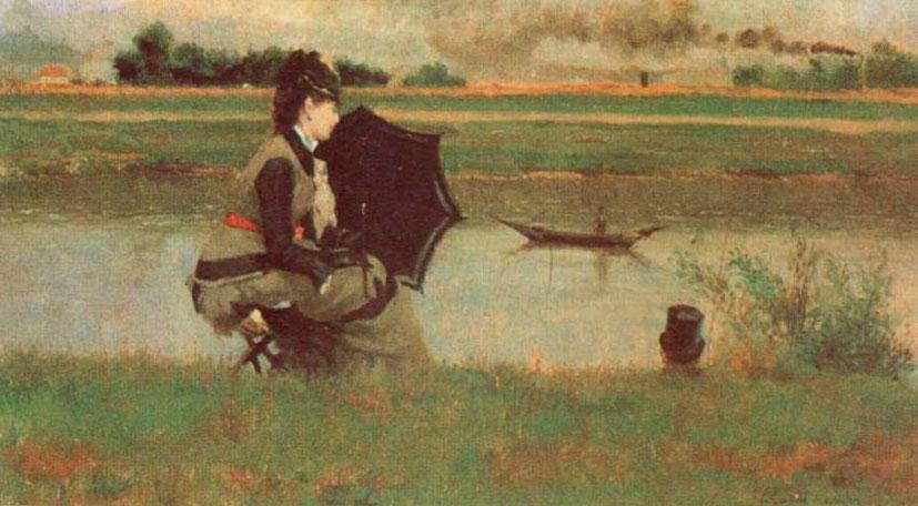 Федерико Дзандоменеги. Рыбалка на Сене. 1878