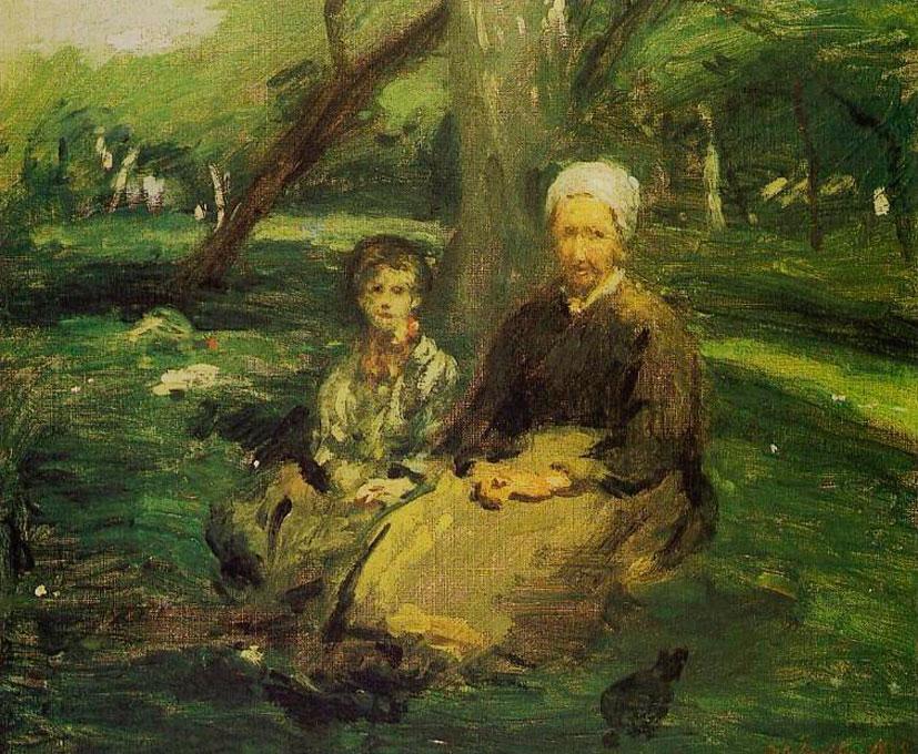 Адольф-Феликс Кальс. Женщина с ребёнком в саду. 1875