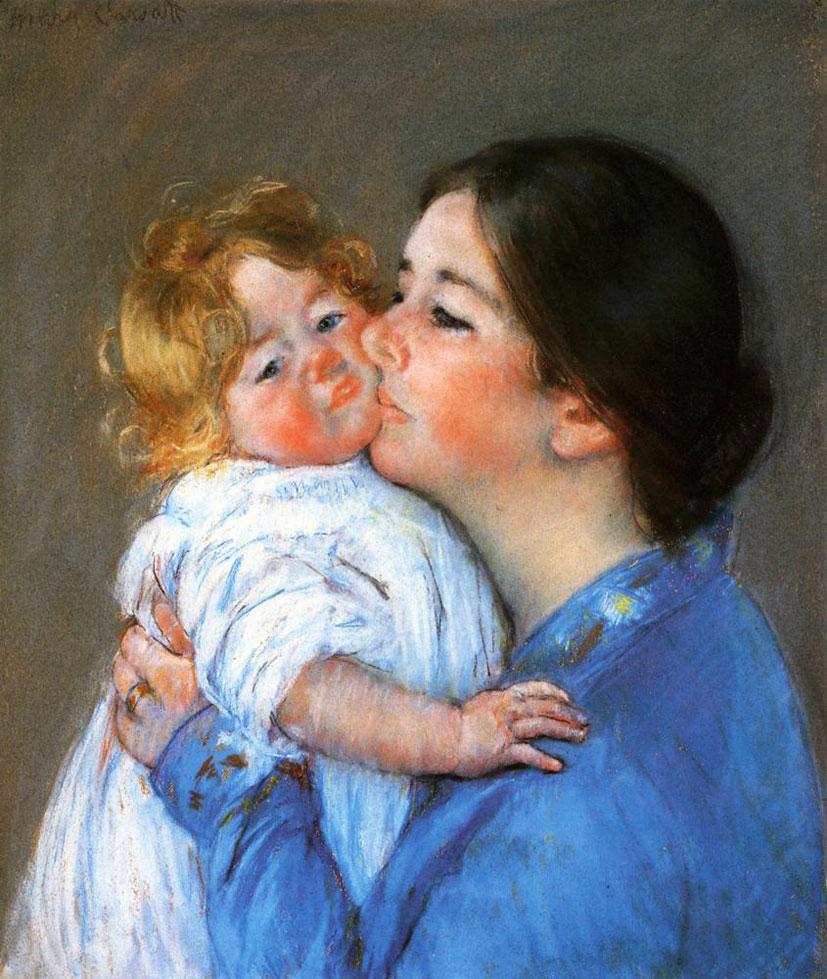 Мэри Кассат. Поцелуй для малышки Анны. 1897