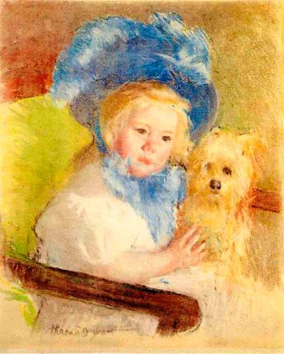 Мэри Кассат. Симона в большой шляпе с перьями держит собаку. 1903