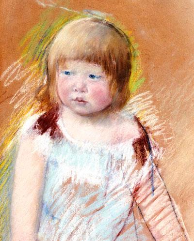 Мэри Кассат. Девочка с чёлкой в голубом платье. 1910