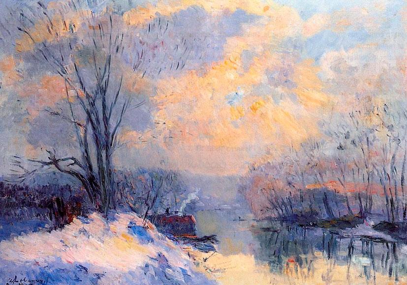 Альбер Лебур. Уголок Сены в Нижнем Медоне. Снег и зимнее солнце. 1910