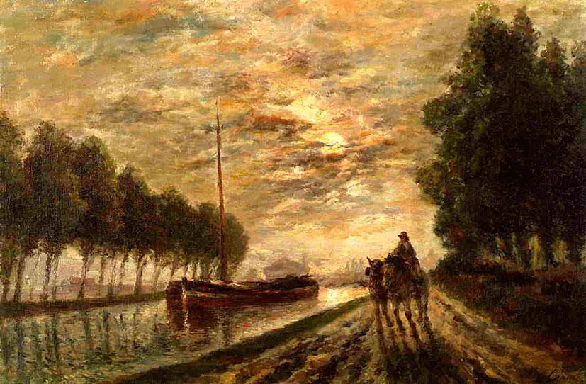 Станислас Лепин. Дорога вдоль канала Лурк. Лунный свет. 1876-1882