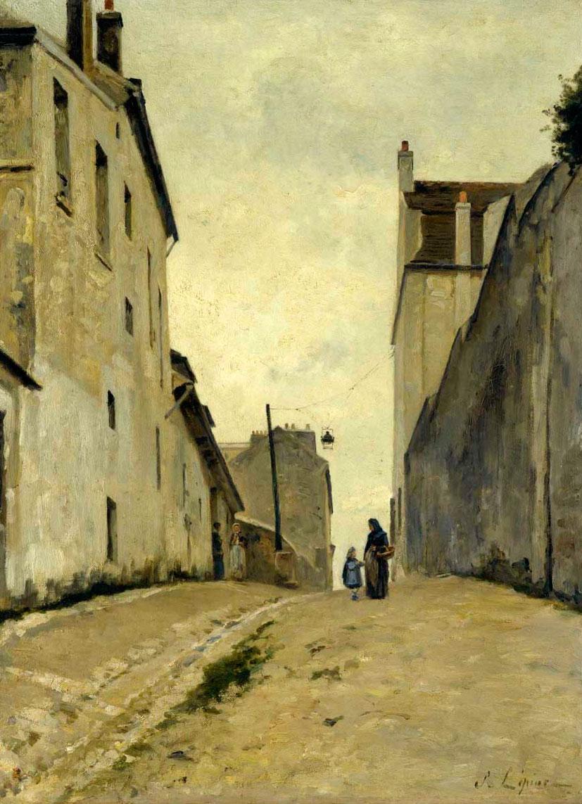Станислас Лепин. Монмартр, улица Монт-Сени. 1868