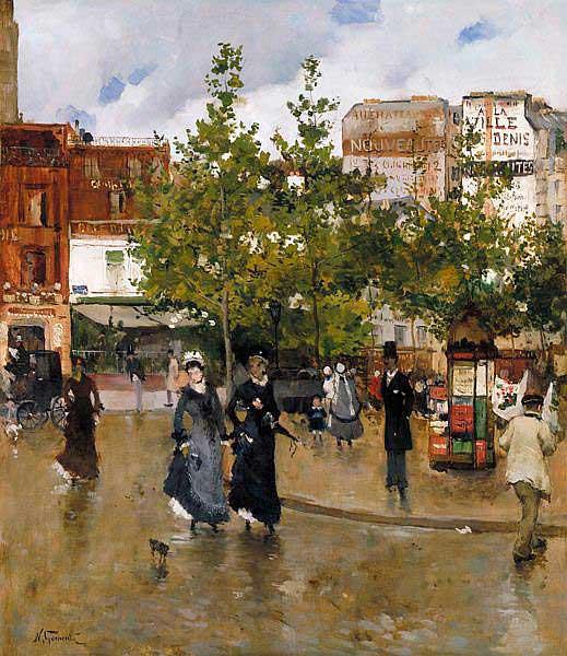 Норберт Гёнётт. Элегантная площадь Клиши. 1875