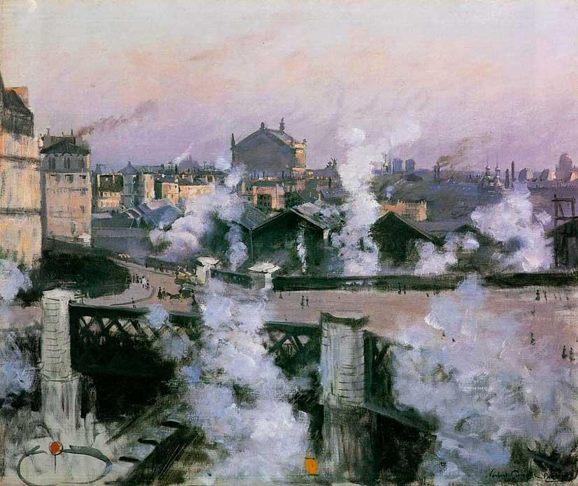 Норберт Гёнётт. Мост Европы и вокзал Сен-Лазар. 1888
